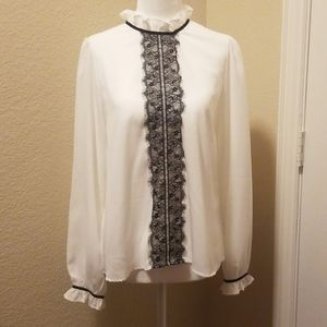 Agaci, Lace Tie Neck Blouse